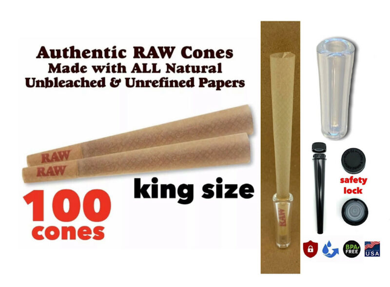 Raw King Size classic pre Rolled Cone (100 Pack)+GLASS CONE TIP & BPA FREE tube