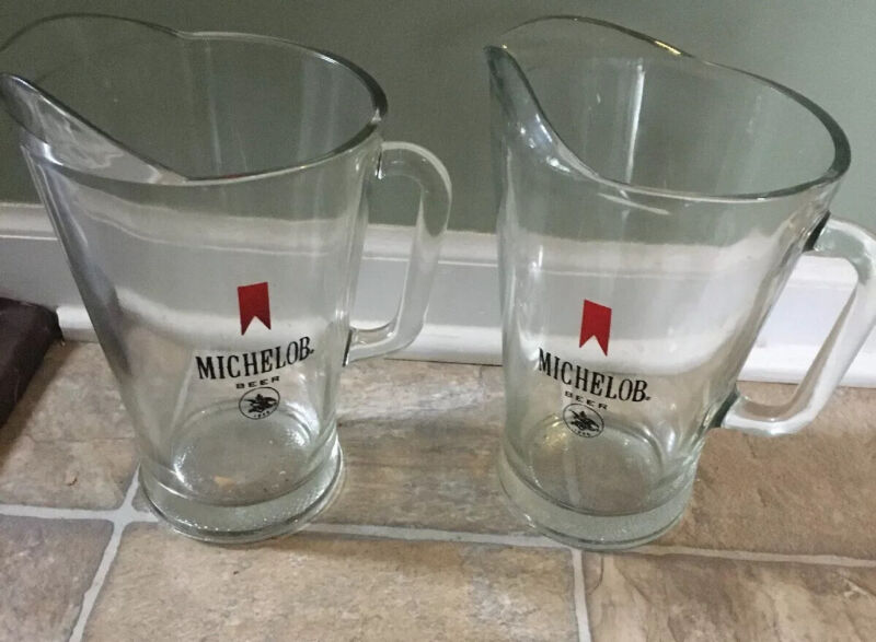 Vintage Michelob Glass Beer Pitchers