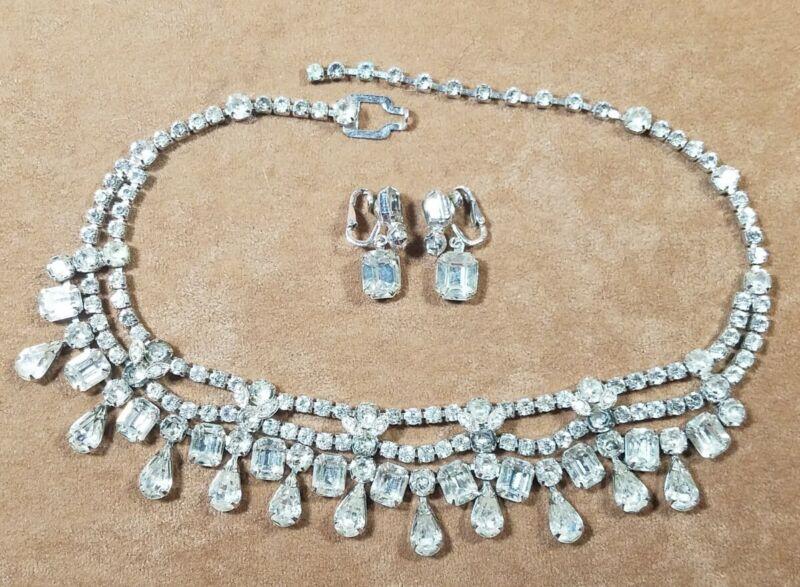 Vintage Eisenberg Ice Signed Clear Rhinestone Necklace & Earrings