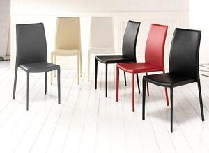 Sedie in ecopelle bianche nere o rosse set di 6 pezzi ebay for Sedie ikea imbottite
