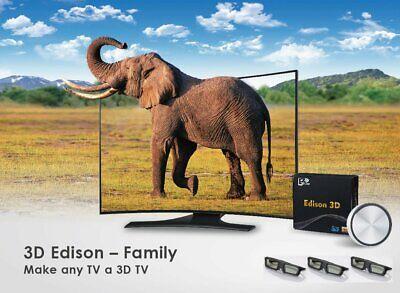 3D Edison Family 2D to 3D Converter TV HDMI HD 1080P & 3pcs 3D Shutter Glasses