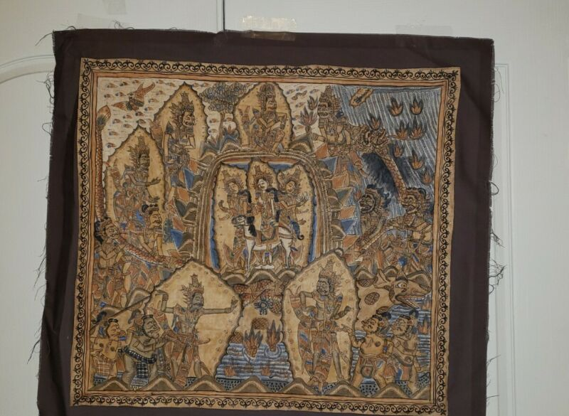 Thailand Painting~Ink on Silk~Scene From Jatakas Religious Fables~19th Century