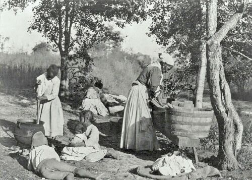 c1900-African American Women Doing Laundry on Scrub Board-Black History Photo