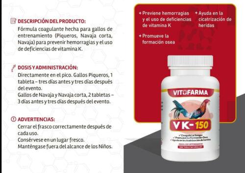 VITAMIN FOR  ROOSTER / GALLOS  VK-150 COAGULANTE  100 TABS