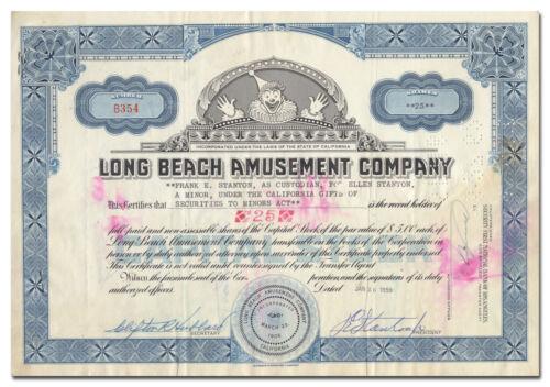 "Long Beach Amusement Company Stock Certificate - ""The Pike"""