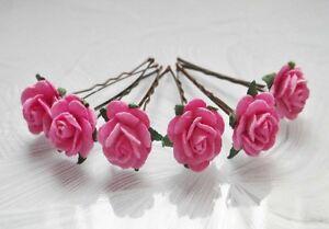 6 x ROSE HAIR GRIPS - bride, bridesmaid, flowergirl, hair accessories