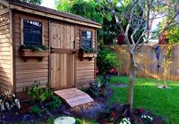 Cedar sheds and playhouses.  Installed on site.
