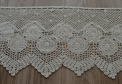 """36"""" Ecru Hand Crochet Lace Kitchen Cafe Window Curtain Valance Tier 16"""" length for sale  China"""