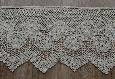 "36"" Ecru Hand Crochet Lace Kitchen Cafe Window Curtain Valance Tier 16"" length"