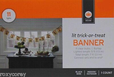 Halloween 5 ft Lit Trick or Treat Banner 11 Clear Bulb Indoor Outdoor Black Wire - 5 Halloween Tricks