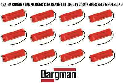 12X RED BARGMAN LED CLEARANCE SIDE MARKER LIGHT #38 SELF GROUNDING TRAILER TRUCK