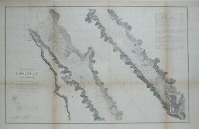 Original 1863 Coast Survey Map TOMALES BAY Point Reyes California Marin County