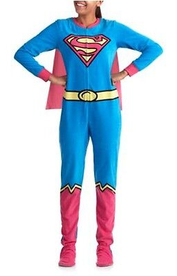 DC Comics Supergirl Footed Pajamas w Cape Costume Footie NWT S or L LAST ONES