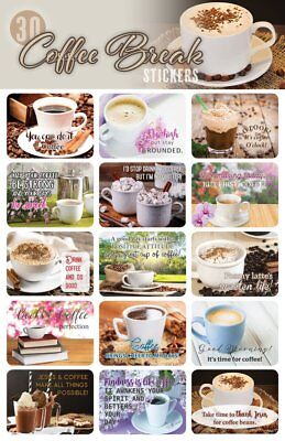 30- Coffee Stickers For Scrapbooking or Envelopes Inspiring Beautiful Sayings - Stickers For Scrapbooking