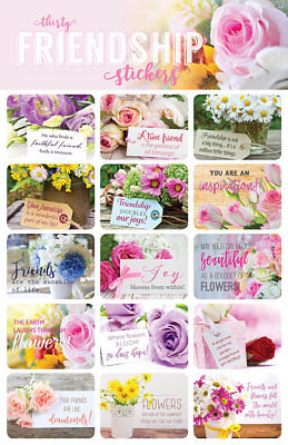 30-Flower Stickers For Scrapbooking or Envelopes Inspirational Vibrant Bright - Stickers For Scrapbooking