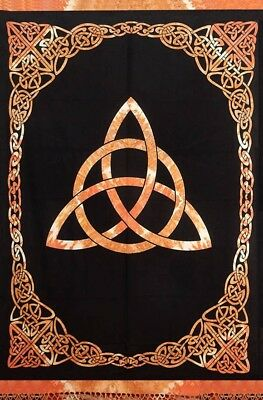 Celtic Tie Dye Trinity Knot Cotton Tapestry Bedspread Full Amber 88x104 inches for sale  Concord