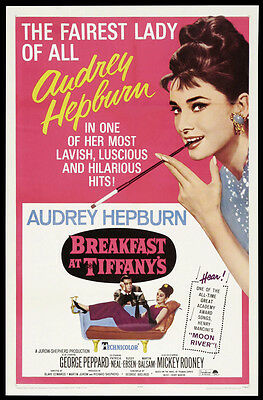 BREAKFAST AT TIFFANY'S Movie POSTER 27x40 C Audrey Hepburn George Peppard