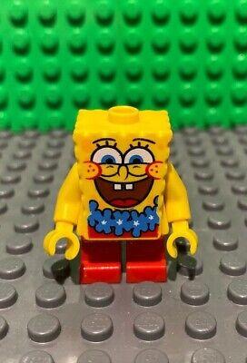 Lego Minifigure SpongeBob Squarepants with Blue Lei from Set 3818 - bob036