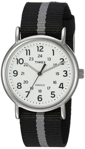 Timex Men\s Weekender Quartz Silver Tone Brass Reversible Nylon Watch TW2P72200
