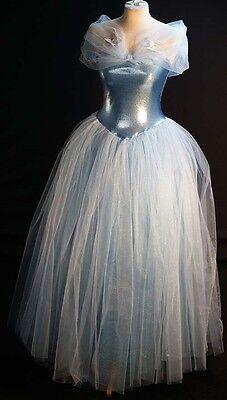 Panto-Shows-Cinderella Blau Funkel Ball Kleid Adult-Plus Größe 18-40 Kostüm