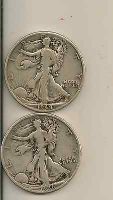 SILVER WALKING LIBERTY HALF DOLLAR LOT OF 2 COINS, different dates also