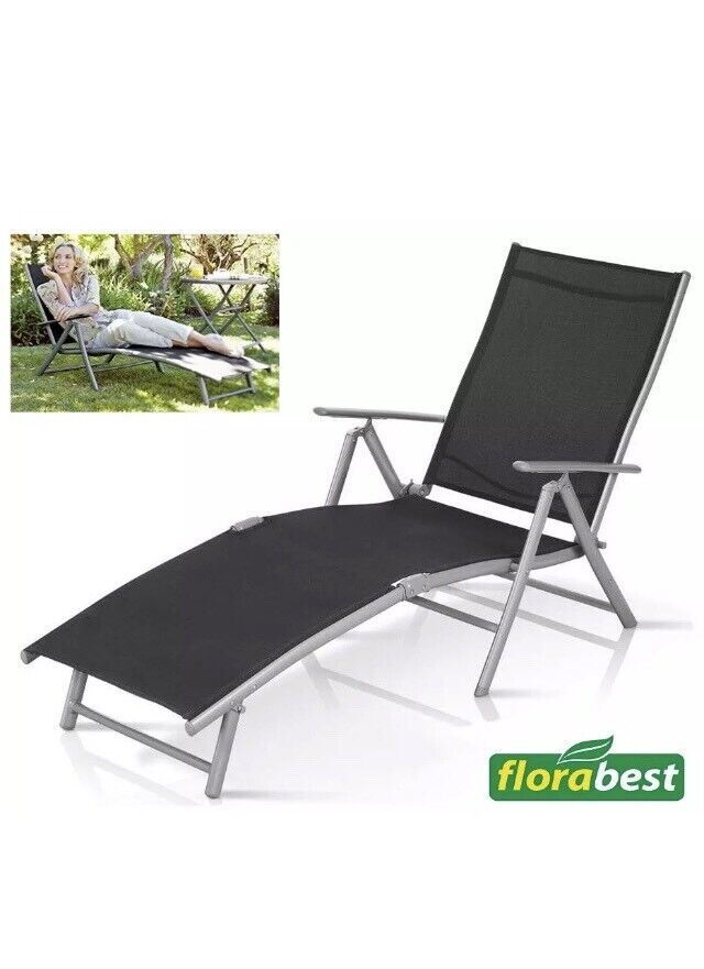 Fold Away Sun Lounger Adjustable Back Arm Rest Garden