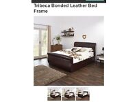 Real leather double brown bed