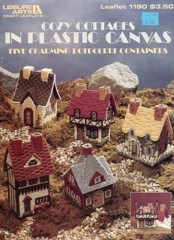 Cozy Cottages 5 Potpourri Houses Plastic Canvas PATTERN/INSTRUCTIONS Booklet
