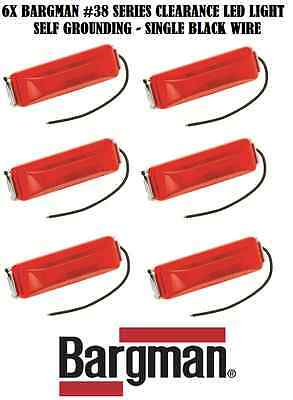 6X RED BARGMAN LED CLEARANCE SIDE MARKER LIGHT #38 SELF GROUNDING TRAILER TRUCK