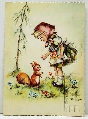 Little German Girl With Rabbit Art Postcard J9 Little German Girl