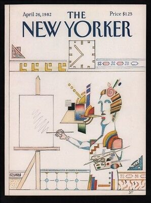 New Yorker Magazine Cover Only  April 26 1982 Steinberg Art Painting  Artist