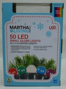 Martha Stewart Living 50 LED Small Globe Lights Multi-Color Sugar Plum NEW