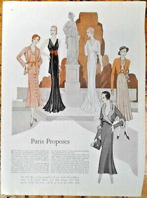 Flapper fashion 1931 original vintage print ad 20s Paris art print Dresses hats