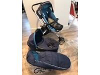 Quinny Buzz 3 pram front and rear facing with carry cot with accessories