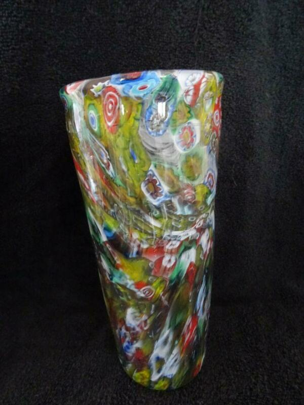 David Langsworthy Large Millefiori Glass Vase - Signed