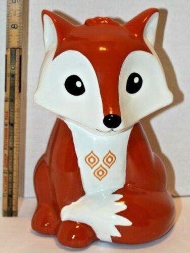 FAB Starpoint Red Orange Ceramic Fox Piggy Bank