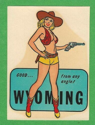 "VINTAGE ORIGINAL 1948 COWGIRL ""MISS WYOMING"" PINUP CHARMER WATER DECAL ART GEM"
