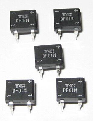 5 X 1 Amp 100 Volt Df01m Full Wave Bridge Rectifiers - 4 Pin Dip Pc Board Mount