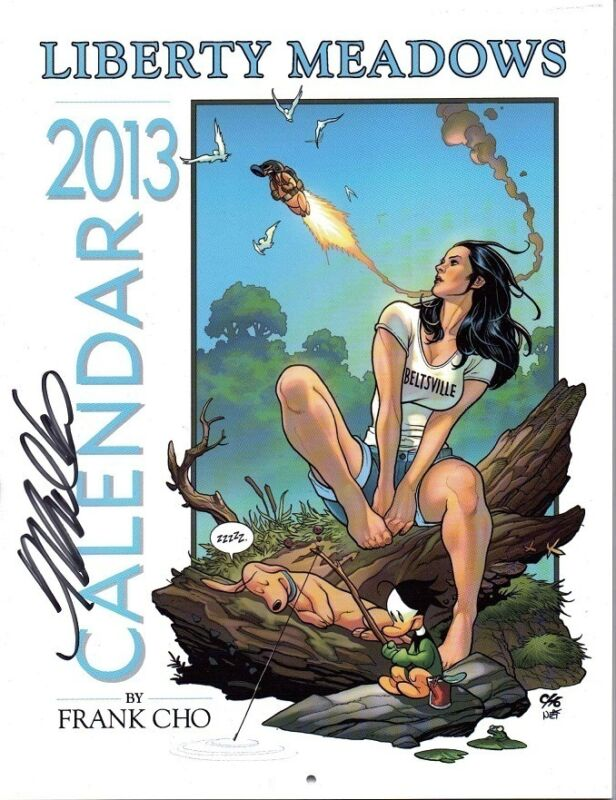 SIGNED FRANK CHO LIBERTY MEADOWS SDCC 2013 PIN UP CALENDAR! BRANDY! HOT!