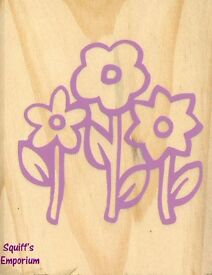 "NEW Two Wooden Rubber Stamps Large 3 x 2.5"" Flowers AND Party Stamping Craft"