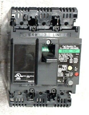 Used Fuji Electric EG33C-EB3AEC-010C 10A 3P Circuit Breaker - 60 day warranty