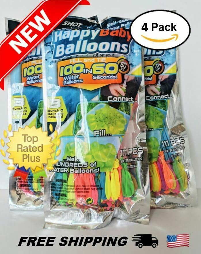 4-pack (444 balloons) Instant Easy Fill Self-Sealing Water Balloons Bunch Style