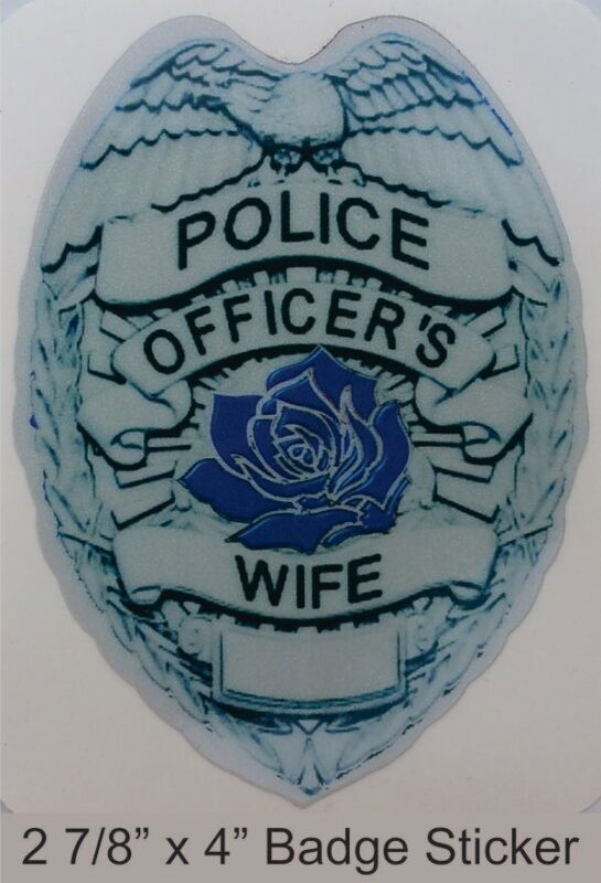 """Police Officer's Wife 4"""" Reflective Decal Sticker"""