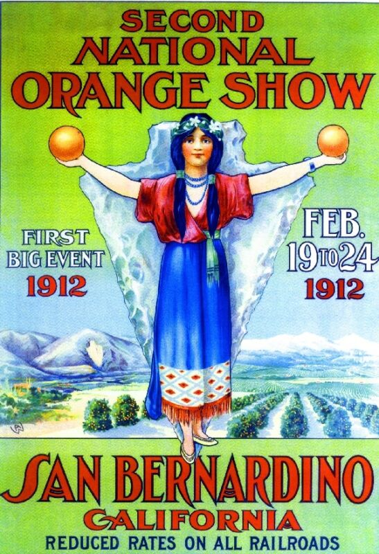 1912 2nd National Orange Show San Bernardino California Advertisement Poster