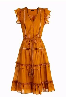Caramel Apparel - NWT J Crew Point Sur Flutter-Sleeve Pom-Pom Midi Dress Cotton Voile Sz 2 Caramel
