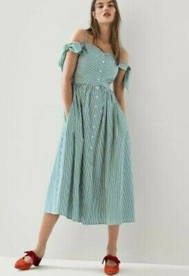 Isa Arfen Button Front Off Shoulder Green Stripe Dress Size 14RRP £150