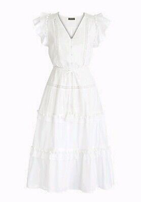 NWT J Crew Point Sur Flutter-Sleeve Pom-Pom Midi Dress Cotton Voile Sz 4 White ()