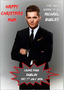 Michael Buble Tour 2018 Ticket Card Present Christmas Birthday Personalised