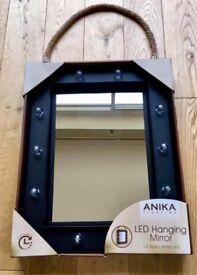 Black LED Hollywood Hanging Mirror