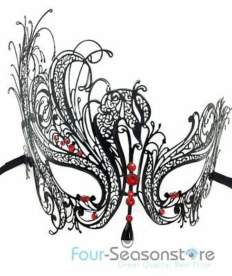 Black Swan Metal Laser Cut Venetian Halloween Ball Masquerade Party Mask  ()